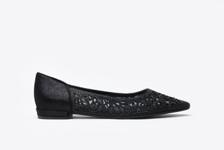 0701-6 Black Laser Cut Crystal Adorned Flats