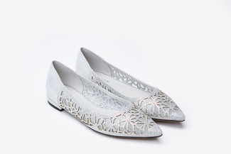 0701-6 Silver Laser Cut Crystal Adorned Flats