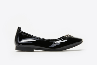 1603-6 Black Crystal Bow Patent Leather Flats