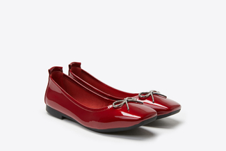 1603-6 Wine Crystal Bow Patent Leather Flats