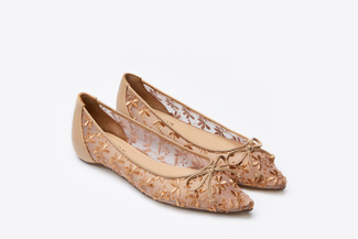 1639-12 Almond Floral Embroidered Flats