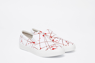 1886-10 Red Paint Splattered Sneakers