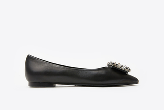 308-19 Black Buckled Jeweled Flats