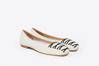 366-12 Beige Sleek Square Toe Ballerina Flats
