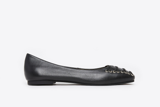 366-12 Black Sleek Square Toe Ballerina Flats