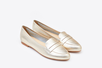 367-9 Light Gold Shimmer Penny Strap Loafers