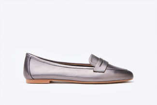 367-9 Pewter  Shimmer Penny Strap Loafers