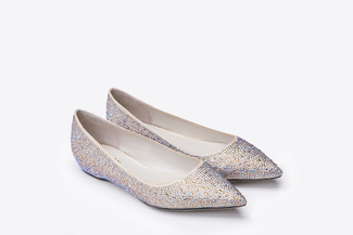 5041-1 Gold Glittery Pointed Flats