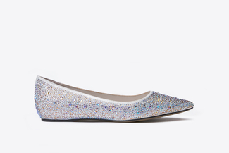 5041-1 Silver Glittery Pointed Flats