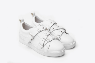 8626-1 White Floral Embellished Sneakers