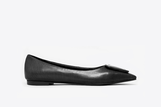 8728-3 Black Buckle Front Classic Flats