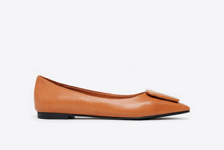 8728-3 Camel Buckle Front Classic Flats