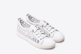 8S301-19 White Laser Trim Sneakers