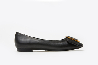 H02-112 Black Round Buckle Front Flats
