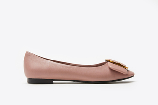 H02-112 Pink Round Buckle Front Flats