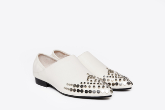1098-1 Beige Studded High Cut Slip-Ons