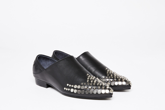 1098-1 Black Studded High Cut Slip-Ons