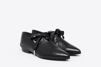 1098-2 Black Big Ribbon Ballet Flats