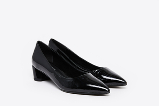 1809-1 Black Patent Leather Pointed Pumps