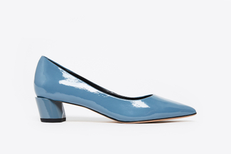 1809-1 Blue Patent Leather Pointed Pumps