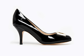 1829-1 Black Buckle Round-Toe Low Heels