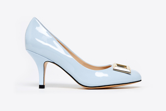 1829-1 Powder Blue Buckle Round-Toe Low Heels
