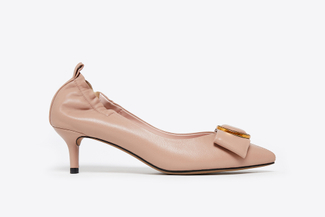 2088-1A Nude Pointy Toe Bow Heels