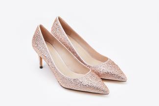 2886-8 Champagne Metallic Pointy Front Low Heels