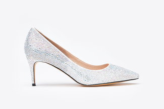 2886-8 Silver Metallic Pointy Front Low Heels