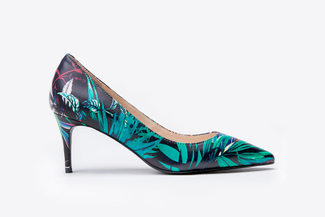 2886-9 Black Botanical Pointy Toe Heels