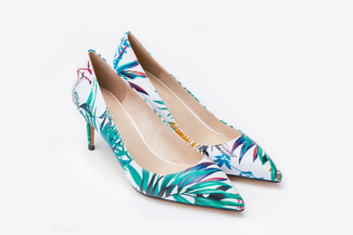 2886-9 White Botanical Pointy Toe Heels