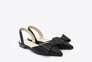 313-3 Black Silk Bow Slingback Flats