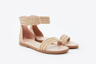 333-4A Almond Pearl Strappy Sandals