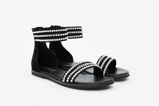333-4A Black Pearl Strappy Sandals