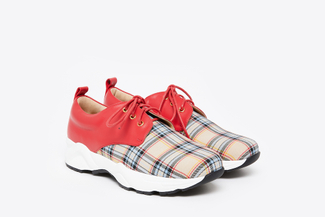 579-2 Red Tartan Plaid Sneakers