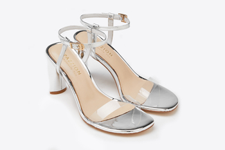 6009-207 Silver Strappy Slingback Sandal Heels
