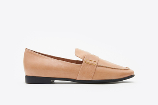 663-181 Apricot Slip-On Leather Loafers