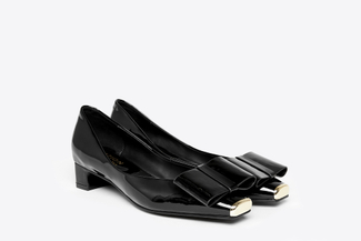 6638-1 Black Bow Low-Heeled Pumps