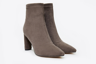 6655-501 Grey Pointed Toe Suede Boots
