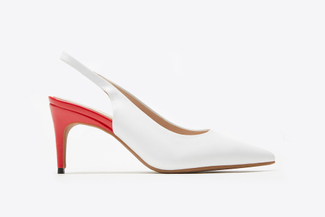 7025-1 White Pointy Toe Low Pump Heels
