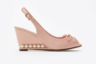 711-2 Pink Pearl Peep Toe Wedge Sandals