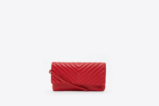 9052 Red Quilted Leather Pouch