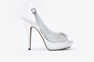 9381-S1 Silver Laser Cut-Out Slingback Heels