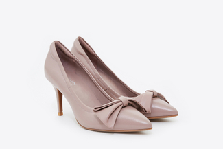 953-318 Taupe Bow Front Pointy Toe Pumps