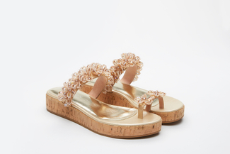 999-2A Almond Stylish Platform Slides