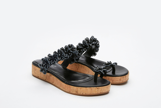 999-2A Black Stylish Platform Slides