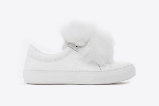 318-16 White Fluffy Pom Pom Sneakers