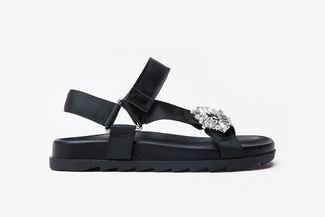 A122-215 Black Striking Strappy Sandals