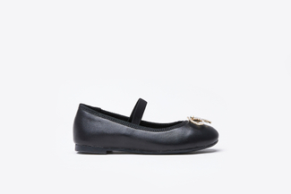 BB1801-1 Kids Black Crystal Bow Flats