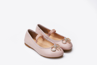 BB1801-1 Kids Pink Crystal Bow Flats